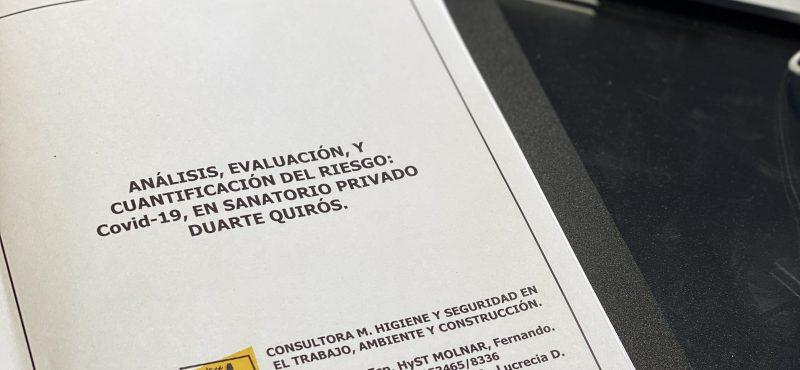 MATRIZ DE RIESGO SARS-CoV-2/Covid-19, en Sanatorio Duarte Quirós